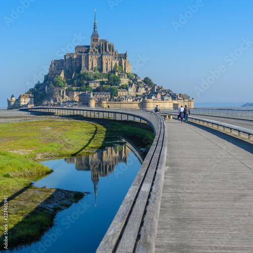 Obraz na plátně View of Mont Saint Michel, Normandy, France. Copy space for text.