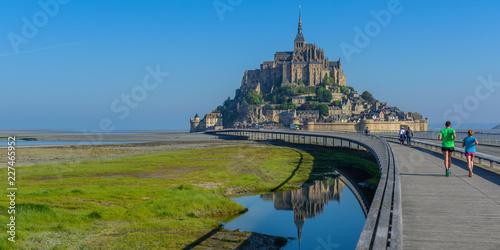 Obraz na płótnie View of Mont Saint Michel, Normandy, France. Copy space for text.