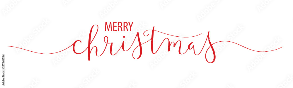Fototapety, obrazy: MERRY CHRISTMAS brush calligraphy banner
