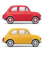 Red An Yellow Cars Isolated On White. Vector 3d Illustration