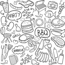 BBQ Party Traditional Doodle I...