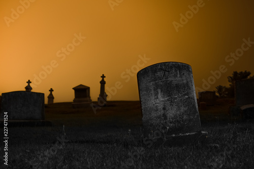 Photo Blank Tombstone Leaning in Grave Yard Hill