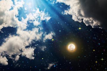Panel Szklany Niebo Full moon with stars at dark night sky .