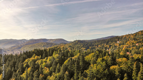 Aerial view of beautiful landscape of Carpathian Mountains in Sinaia near the Peles castle. Transylvania - Romania