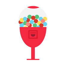 Vector Illustration Of Candy Dispenser. Vector Gum Balls Dispenser.