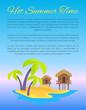 Hot Summer Time Blue Poster Vector Illustration
