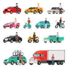 Modern Cars And Truck With Drivers Beside Set
