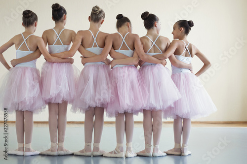 Group of ballerinas posing together with back to camera Fototapet