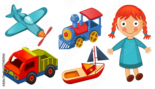 Fotografia, Obraz Kids toys isolated on white background vector illustration