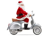 Santa Claus Riding A Vintage M...
