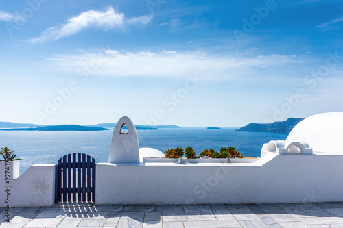 Aluminium Prints Santorini Santorini, Greece. Picturesque view of traditional cycladic Santorini's details