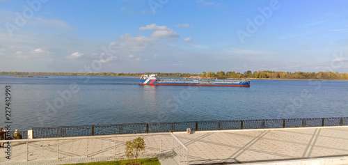 Fotobehang Stad aan het water Lower Volga embankment. Steps, paving slabs, curbs, railings. Nizhny Novgorod . Russia.