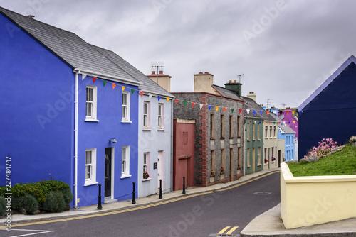 Obraz na plátně  Typical colorful houses on Wild Atlantic Way, Eyeries, Beara Peninsula, Ireland