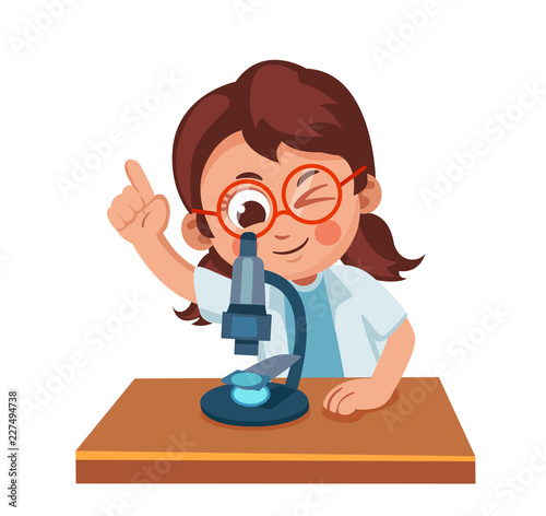 cute little girl looking through a microscope science for children cartoon vector illustration buy this stock vector and explore similar vectors at adobe stock adobe stock children cartoon vector illustration