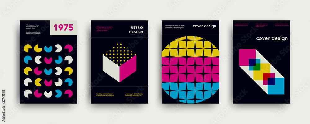 Fototapeta Retro cover templates collection. Swiss trendy fashion backgrounds set