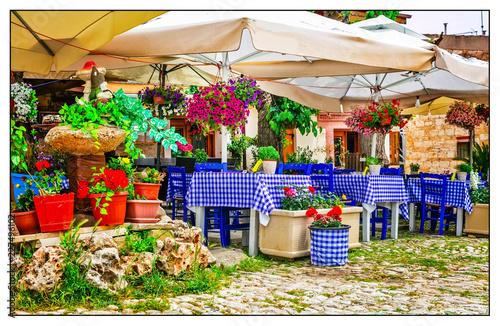Traditional tavernas in Cyprus island. Omodos village
