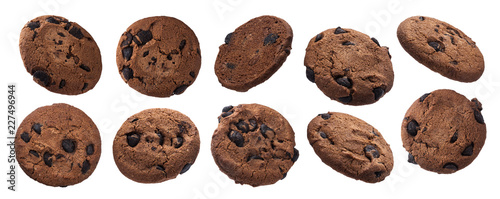 Платно Chocolate oatmeal chip cookies isolated on white background