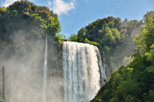 Poster Waterfalls Marmore Falls is a man-made waterfall created by the ancient Romans located near Terni, Italy