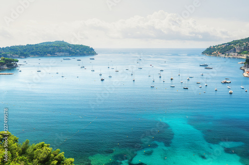 The beautiful bay of Villefranche-sur-Mer on the Cote D'Azur in France фототапет