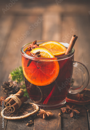 Christmas mulled wine with cinnamon and star anise