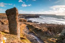 On The Coast Path Towards Gunwale In Cornwall England Uk