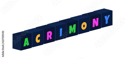 Acrimony - multi-colored text written on isolated 3d boxes on white background Canvas Print