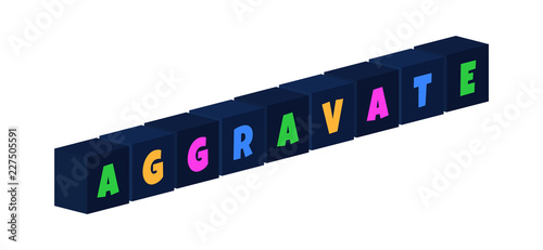 Photo Aggravate - multi-colored text written on isolated 3d boxes on white background