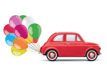 Red Cartoon Car With Bunch Of ...