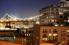 Illuminated Manhattan Bridge A...