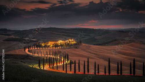 Deurstickers Toscane Tuscany Evening Crete Senesi