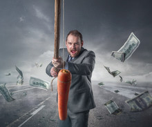 Businessman Holding A Carrot I...