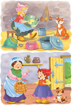 Cinderella. Little Red Riding Hood. Two Fairy Tales. Coloring Page. Illustration For Children. Cute And Funny Cartoon Characters