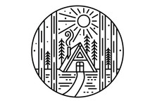 Wooden House In The Forest. Wooden Cabin In The Woods. Linear Illustration