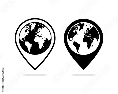 Vector Pin Maps Location And The World Sign Symbol Icon Logo Design