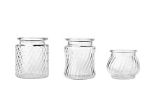 Set Of Three Glass Vases Isolated On White Background. Empty Small Glassware.