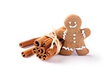 Lebkuchenmann Mit Zimtstangen -  Freisteller  -  Weihnachten
