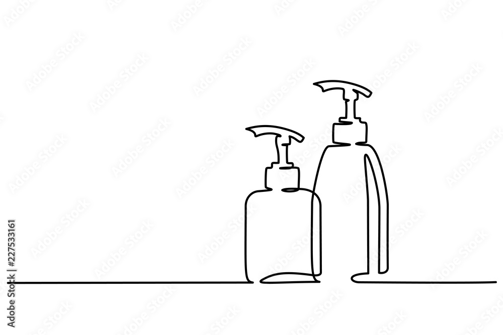 Fototapeta Continuous one line drawing. Cosmetic shampoo bottles. Vector illustration