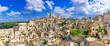 Matera, Basilicata, Italy: Landscape view of the old town - Sassi di Matera, European Capital of Culture, at dawn