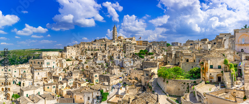 Matera, Basilicata, Italy: Landscape view of the old town - Sassi di Matera, European Capital of Culture, at dawn - 227534912