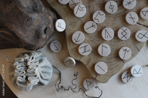 Anglo-saxon wooden handmade runes Futhorc Canvas Print