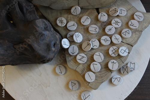 Photo Anglo-saxon wooden handmade runes Futhorc