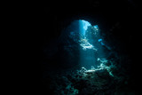 Sunlight Descending Into Dark, Underwater Cavern