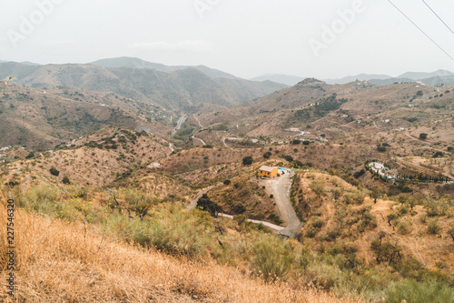 Fotobehang Wit Amazing mountains landscape aerial view in south of spain - villages/houses and roads between mountains