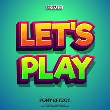 Let's Play 3d Color Full Game Logo Text Effect