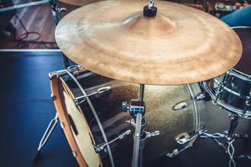 Fototapeta na wymiar kick drum, snare drum and crash cymbal