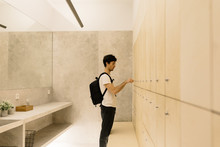 Man Locking Section In Dressing Room