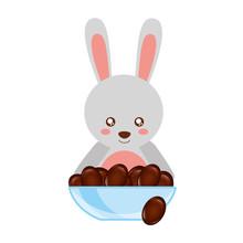 Cute Rabbit With Bowl Chocolate Sweet Bonbon