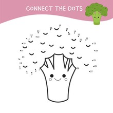 Educational Game For Kids. Dot To Dot Game For Children. Cartoon Broccoli.