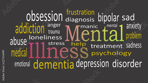 Fényképezés  Mental Illness, word cloud concept on black background.