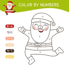 PrintColoring Book For Children. Coloring By Numbers. Vector Cute Santa Claus.